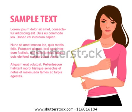 Illustration of a young beautiful student girl, holding folders - stock vector