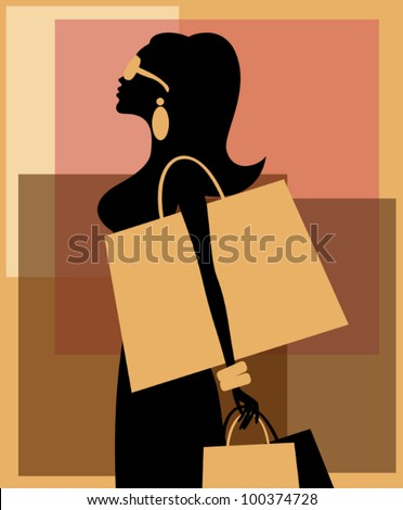 Illustration of a young beautiful woman with shopping bags against abstract background. EPS 10 file. - stock vector