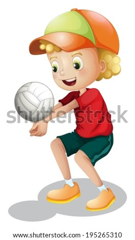 Illustration of a young boy playing volleyball on a white background - stock vector