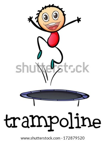 Illustration of a young boy playing with the trampoline a white background - stock vector