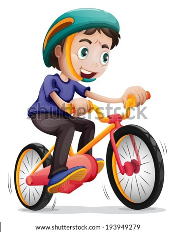 Illustration Young Boy Riding Bicycle On Stock Vector ...