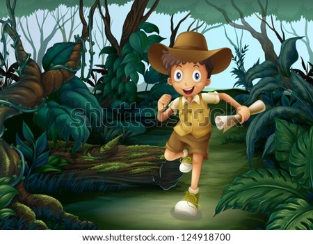 Illustration of a young boy running in the middle of the woods - stock vector