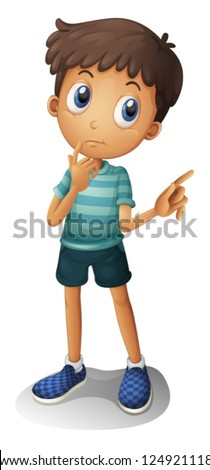 Illustration of a young boy thinking on a white background - stock vector