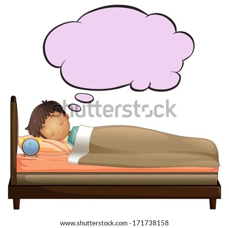 Illustration of a young boy with an empty thought while sleeping on a white background - stock vector