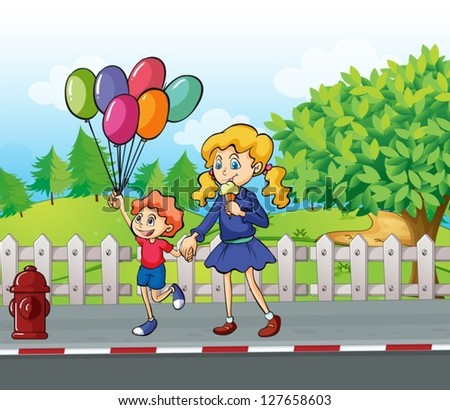 Illustration of a young boy with balloons and a girl eating an ice cream