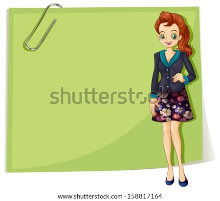 Illustration of a young business girl in front of the empty template on a white background - stock vector