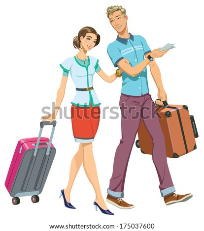 Illustration of a Young Couple going traveling - stock vector