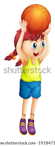 Illustration of a young female basketball player on a white background - stock vector