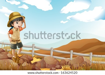 Illustration of a young female explorer walking alone - stock vector