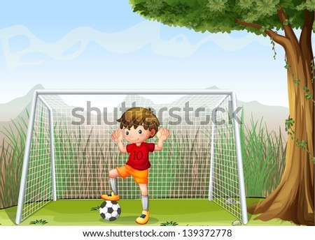 Illustration of a young football player near the big tree - stock vector