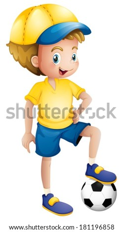 Illustration of a young football player on a white background - stock vector