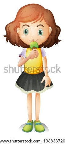 ... young girl eating an ice cream on a white background - stock vector