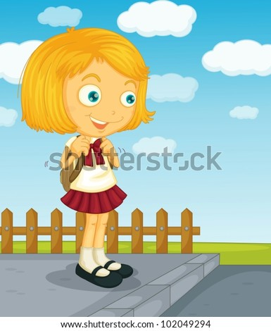 Illustration of a young girl going to school - stock vector