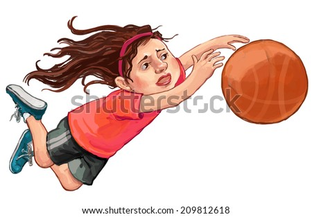 Illustration of a young girl playing basketball on a white background. Children illustration for School books, magazines, advertising and more. Separate Objects. VECTOR - stock vector