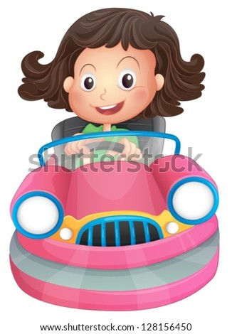 Illustration of a young girl riding on a pink bumpcar on a white background - stock vector