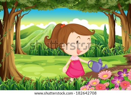 Illustration of a young lady watering the plants in the forest - stock vector