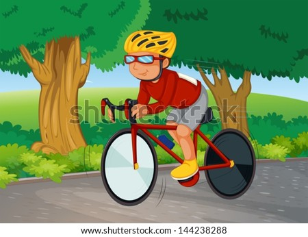 Illustration of a young man biking