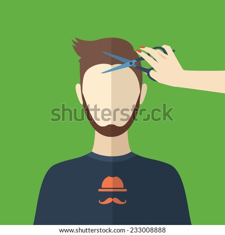 Illustration of a young man. Cutting hair at the hairdresser. Beauty procedures made in flat design. Vector - stock vector
