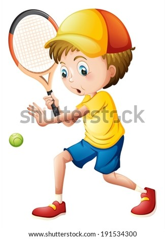 Illustration of a young man playing tennis on a white background - stock vector