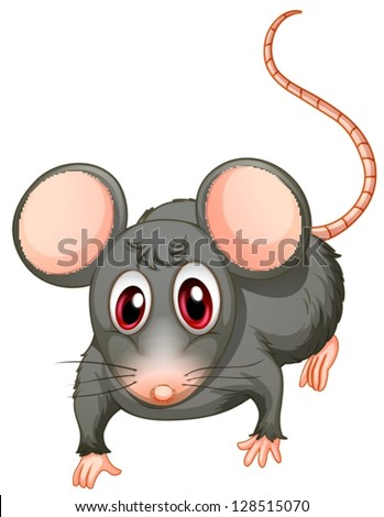 Illustration of a young mouse on a white background - stock vector