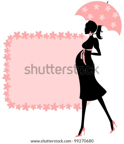 Illustration of a young pregnant woman and a cute floral frame in pink. Perfect for baby shower invitation, - stock vector