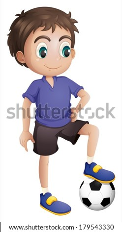 Illustration of a young soccer player on a white background - stock vector