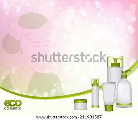 Illustration of a young woman and eco cosmetic. Choose natural cosmetics concept