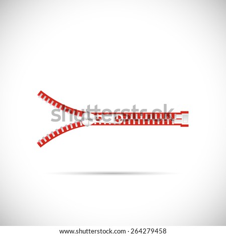 Illustration of a zipper isolated on a white background. - stock vector