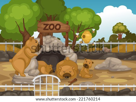 illustration of a zoo and bear vector - stock vector