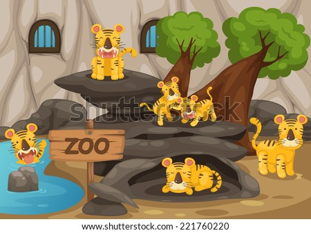 illustration of a zoo and tiger vector - stock vector