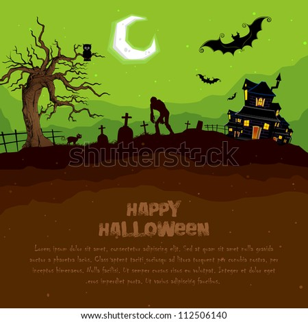 illustration of abandoned haunted house in halloween night - stock vector
