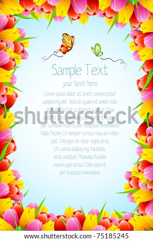 illustration of abstract background with tulip flower in border - stock vector