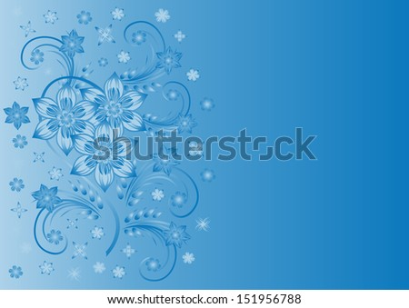 Illustration of abstract blue flowers with background