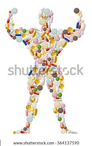Illustration of abstract bodybuilder, made of pills, EPS 10 contains transparency. - stock vector