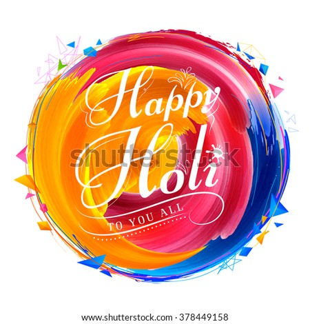 illustration of abstract colorful Happy Holi background - stock vector