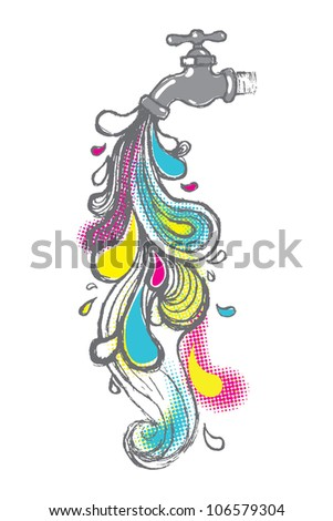 Illustration of abstract colorful water drops pouring from a tap. - stock vector