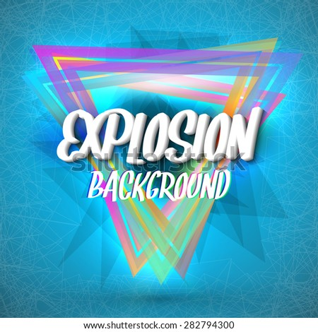 Illustration of Abstract Explosion Background with Colorful Triangles, Particles and Connection Lines - stock vector