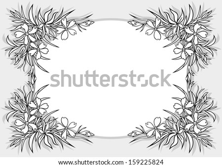 Illustration of abstract flowers frame