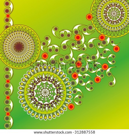 illustration of abstract green decoration. - stock vector