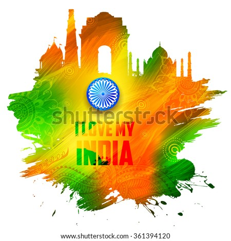 illustration of abstract Indian background with historical monument - stock vector