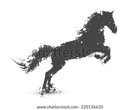 Illustration of Abstract Ink Splashes Horse In Motion Over White Background - stock vector