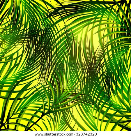 Illustration of Abstract Jungle Palm Leaves Background - stock vector