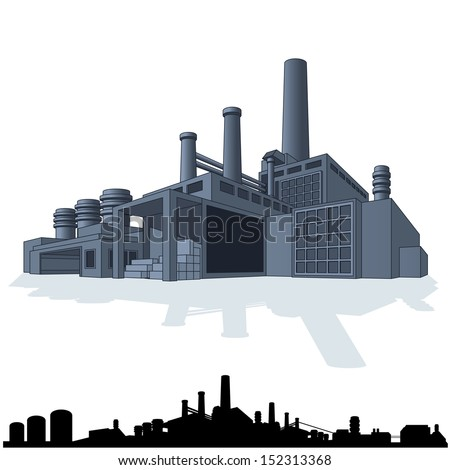 Illustration of Abstract Large Factory. 3D Vector Icon - stock vector