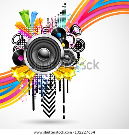 illustration of abstract musical background with colorful swirls - stock vector