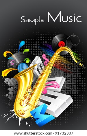 illustration of abstract musical background with saxophone and guitar - stock vector
