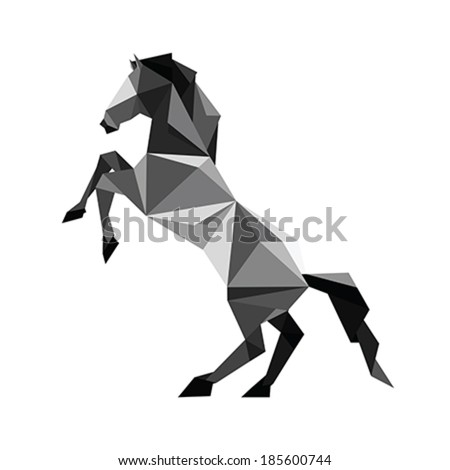 Illustration of abstract origami black horse standing in pose - stock vector