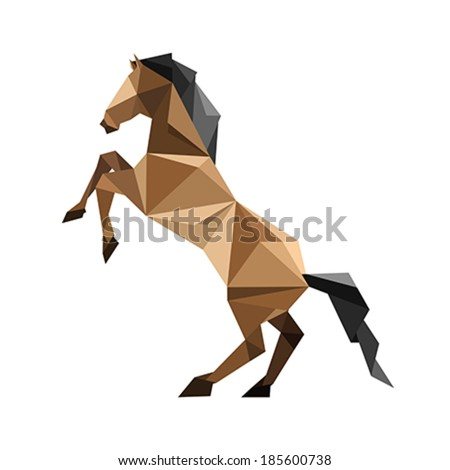 Illustration of abstract origami brown horse - stock vector