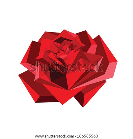Illustration of abstract origami red rose isolated on white background - stock vector