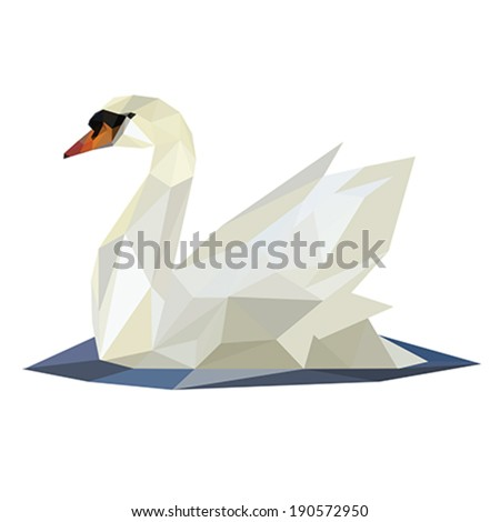 Illustration of abstract origami swan on lake - stock vector