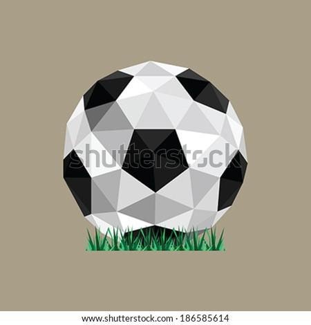 Illustration of abstract paper origami soccer ball stranding on grass - stock vector